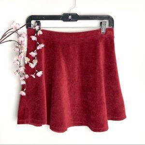 Forever 21 Red/Maroon Corduroy Skater Skirt